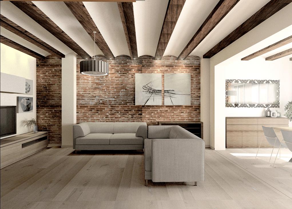 pisos en manresa con bigas en salon 3